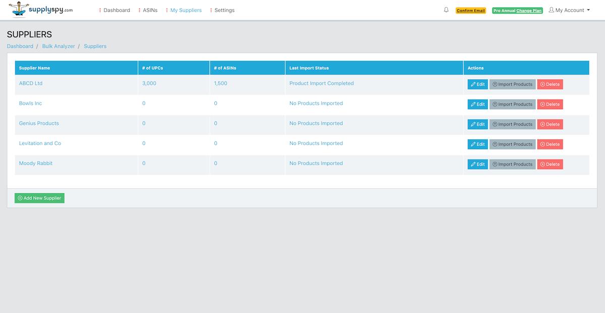 SupplySpy Suppliers List